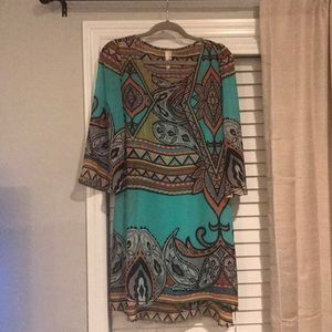 Geometric Turquoise Dress 3/4 Length Sleeves